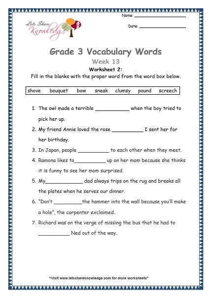 Grade 3  Vocabulary Worksheets Week 13