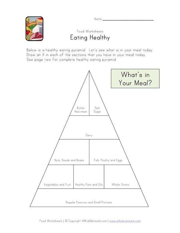 Eating Healthy Food Pyramid Worksheet