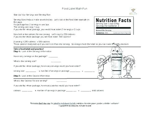 Cooking Worksheets For Middle School
