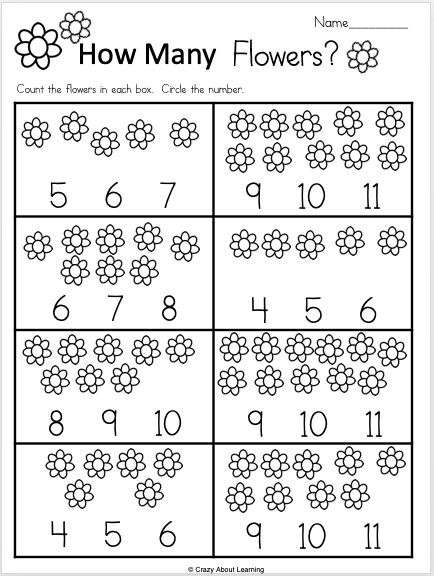 Free Kindergarten Math Number Recognition Worksheet For Spring
