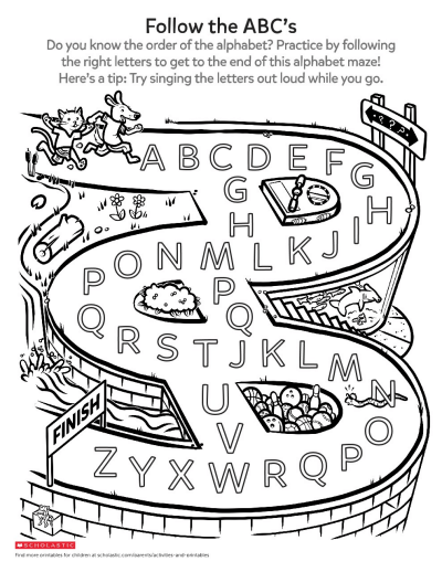 A Silly Alphabet Maze Worksheet Printable