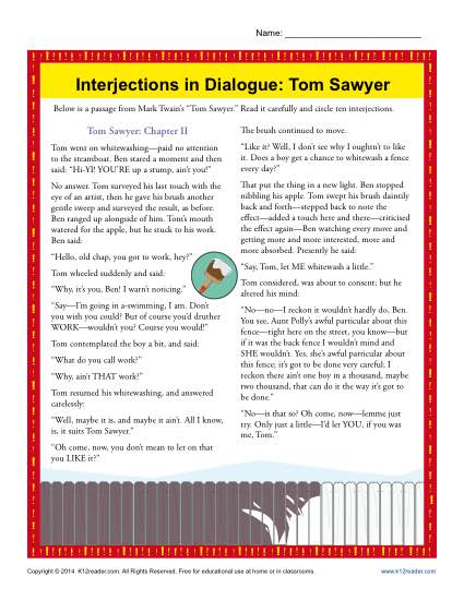 Interjections In Dialogue  Tom Sawyer