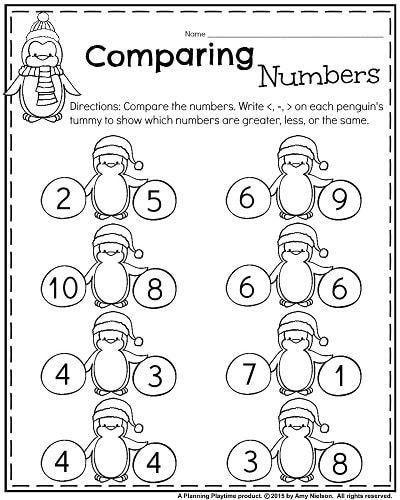 Kindergarten Math Worksheets Comparing Numbers