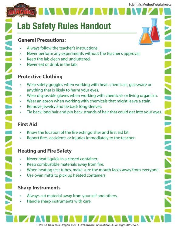 Lab Safety Rules Handout Worksheet – Printable For Kids – Sod