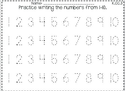 Learning Numbers 1 10 Worksheets