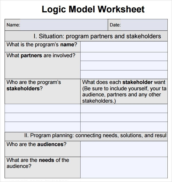 Worksheet Logic Model Template