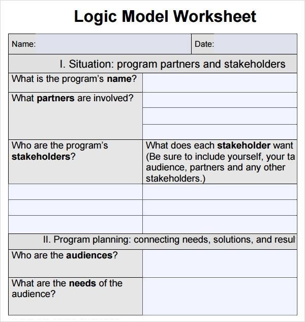 Worksheet Logic Model Template