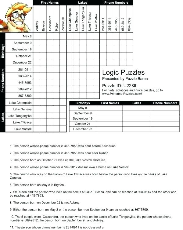 Logic Puzzle Worksheets Logic Puzzle Worksheets Printable Logic