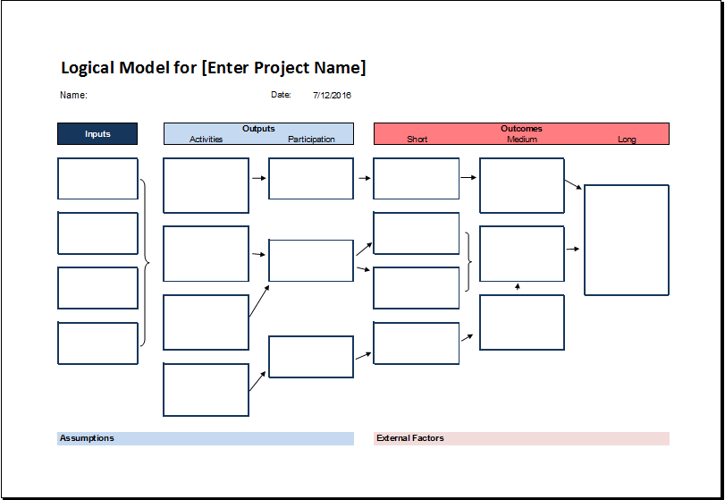 Logical Model Flow Chart Template For Excel