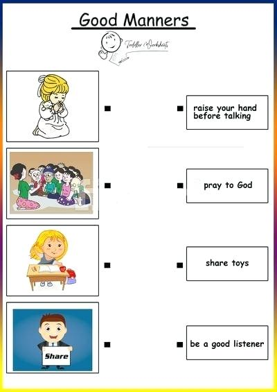 Free Printable Table Manners Chart With Manners Worksheets Free