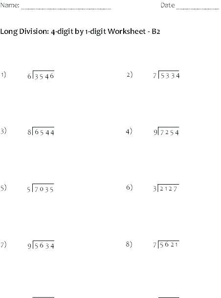 Math Division Worksheets 7th Grade