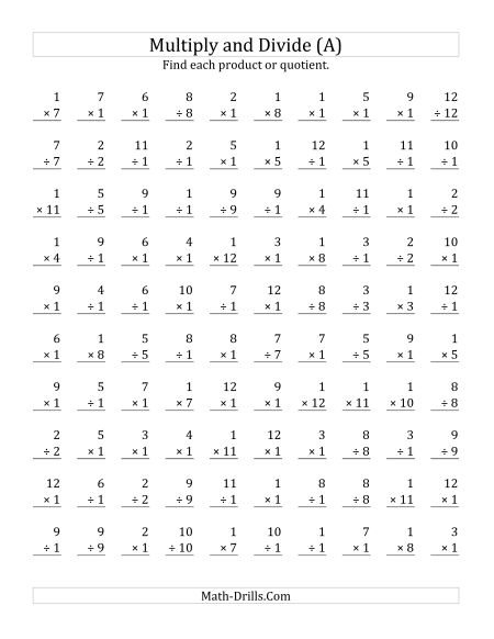 Math Sheets For Multiplication And Division