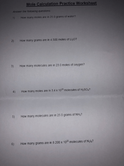 Solved  Mole Calculation Practice Worksheet Answer The Fol