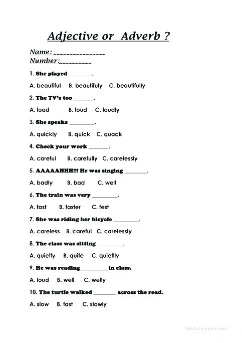 Adverbs Printable Worksheets