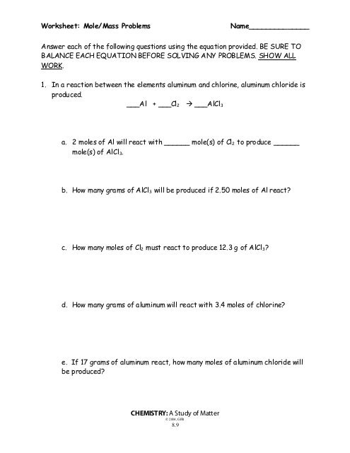 Mass To Mass Worksheet Mole Problems As Naming Compounds Worksheet