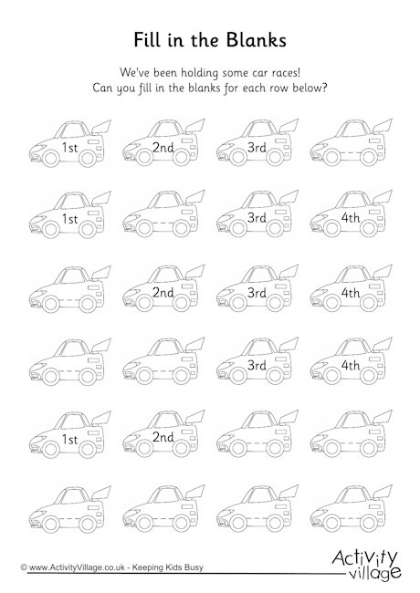 Racing Car Ordinal Numbers 1