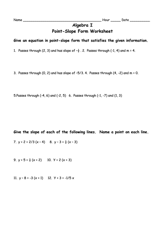 Algebra I Point