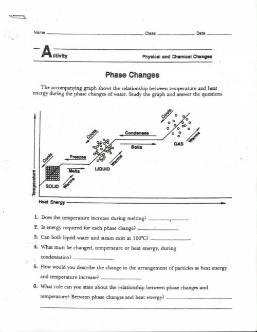 Phase Change Diagram Worksheet Answers Manicpixi, Phase Change