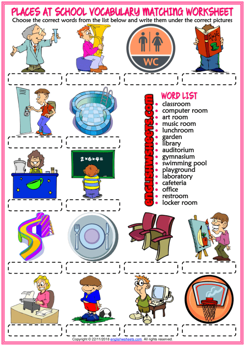 Places At School Vocabulary Esl Matching Exercise Worksheet