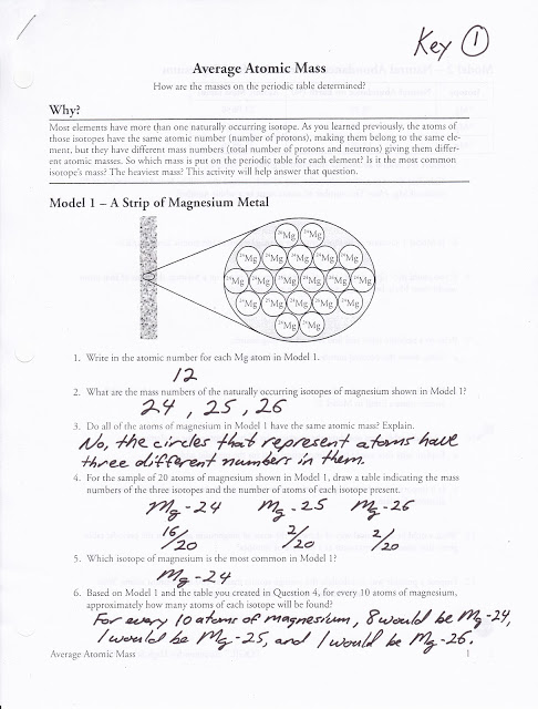 Atomic Mass Worksheets Answers