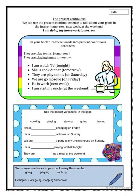 Present Continuous For Future Plans Worksheet