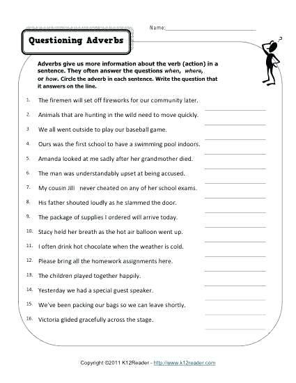Adverb Worksheets 2nd Grade