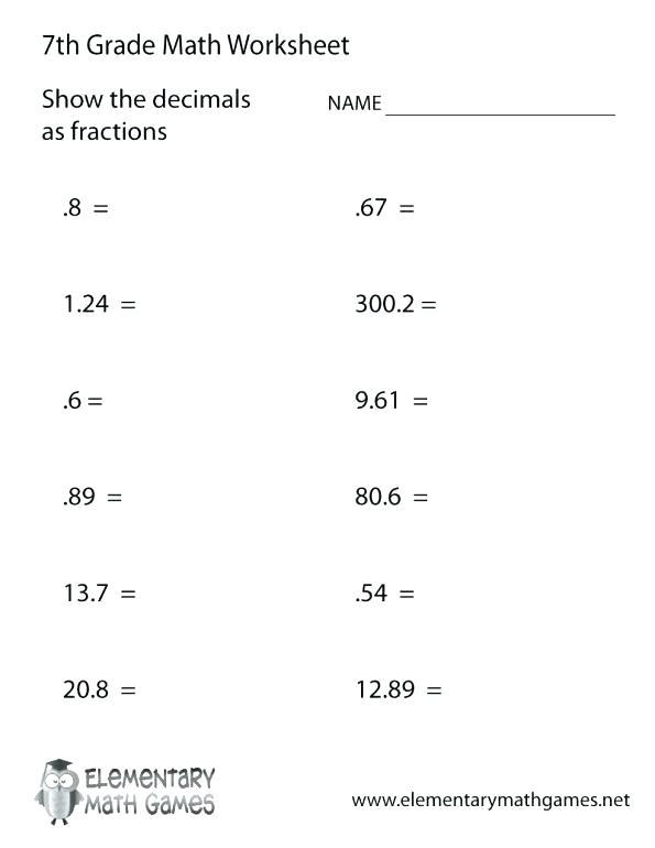Printable Math Worksheets 7th Grade Printable Worksheets For Grade