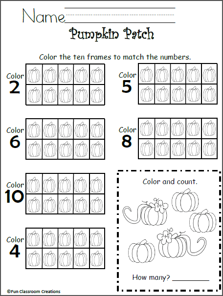 Free 10 Frames Math Worksheet
