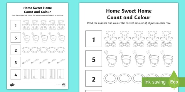 Home Sweet Home Count And Colour Worksheet   Worksheet