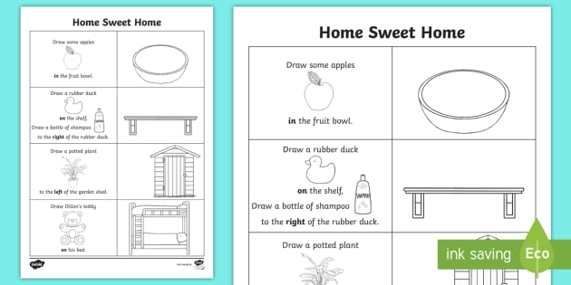Home Sweet Home Spatial Awareness Worksheet   Worksheet