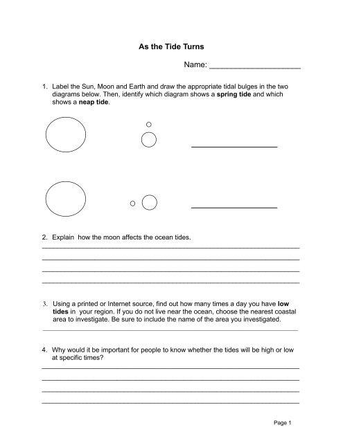 Science Minutes Activity  6 Tides Worksheet( 82k Pdf)