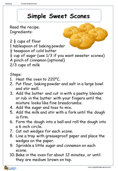 Simple Sweet Scones Reading Comprehension Worksheet – English