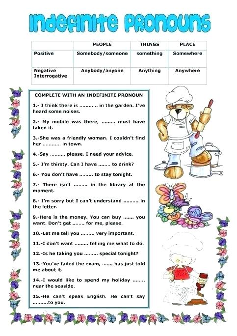 Indefinite Pronouns Pronoun Worksheets About This Worksheet We