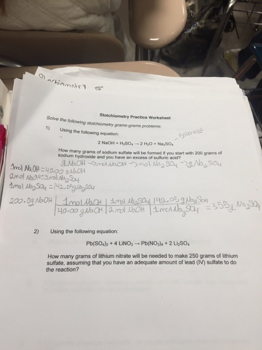 Stoichiometry Practice Worksheet Slope Intercept Form Worksheet
