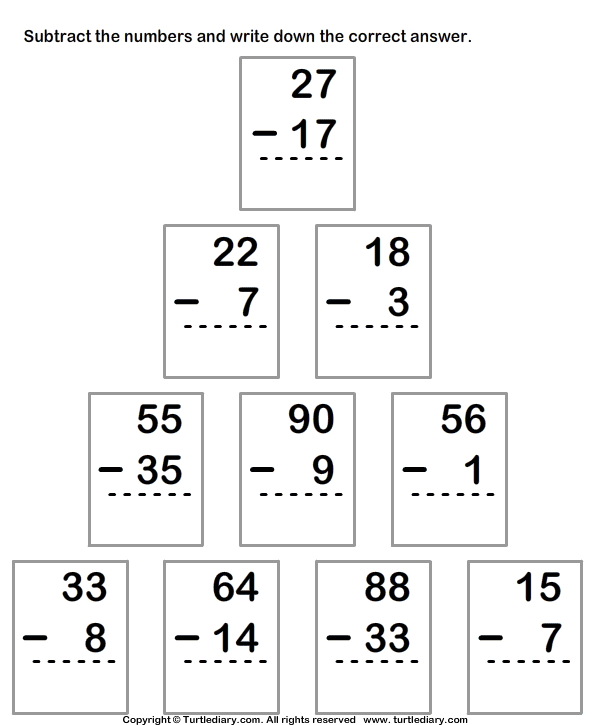 Subtracting From Two Digit Number With Regrouping Worksheet