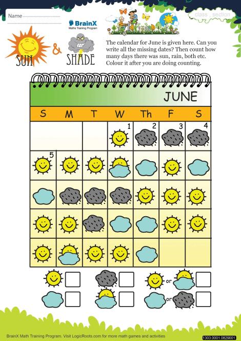 Sun And Shade Math Worksheet For Kindergarten