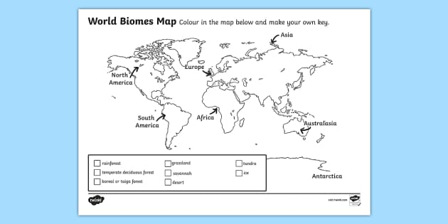 World Biomes Map Coloring Worksheet   Worksheet