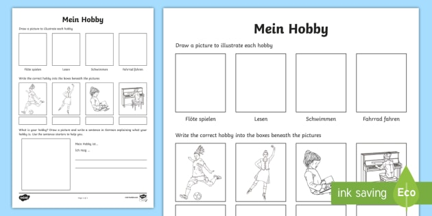 Hobbies Worksheet   Worksheet German