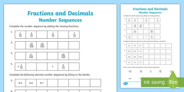Fractions And Decimals Sequences Worksheet   Worksheet
