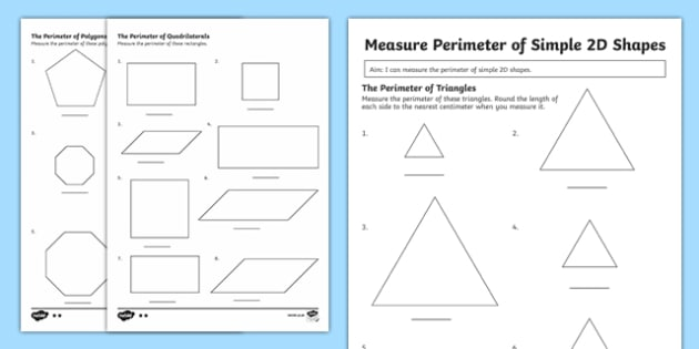 Year 3 Measuring The Perimeter Of Simple 2d Shapes Differentiated