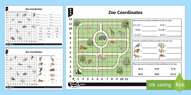 Zoo Coordinates Worksheet   Worksheets