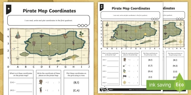 Ks2 Pirate Maths Map Coordinates Differentiated Worksheet   Worksheets