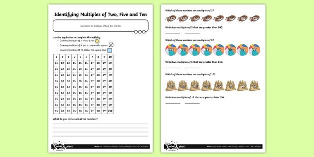 Identifying Multiples Of 2, 5 And 10 Worksheet   Worksheet