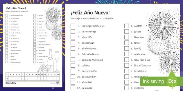 New Year's Eve Matching Worksheet   Activity Sheet Spanish