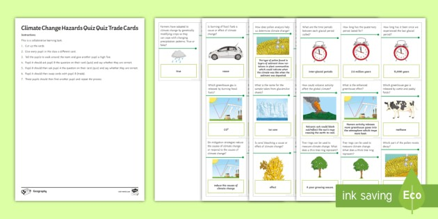 Climate Change  Quiz Quiz Trade Cards Worksheet