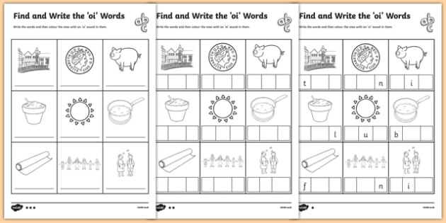 Oi Words Phonics Differentiated Worksheet Pack
