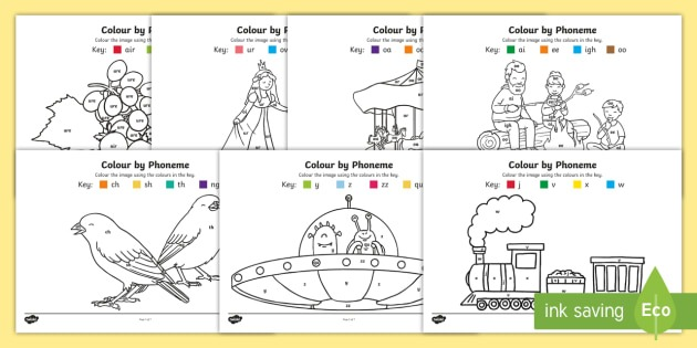 Colour By Phoneme Phase 3 Colouring Pages