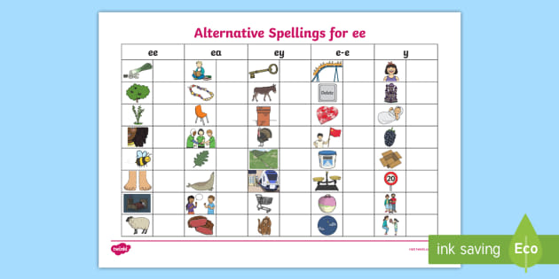 Alternative Spellings Ee, Ey And E