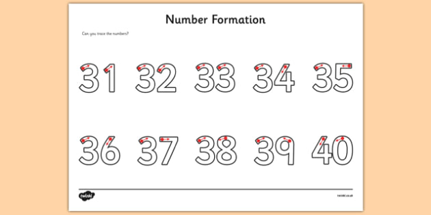 Number Formation Worksheet   Worksheet 31