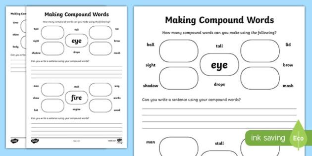Making Compound Words Worksheet   Worksheet, Worksheet